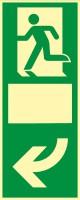 Rettungszeichen Türgriffhinterlegung linksweisend mit Symbol nach ISO 7010