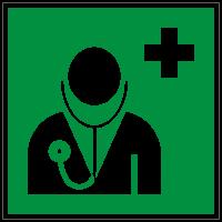 Rettungszeichen Arzt nach ISO 7010 (E009) / ASR A1.3