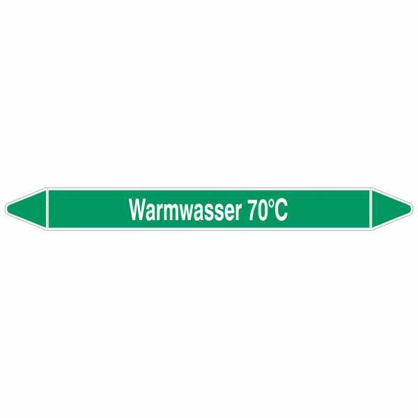 Brady Rohrmarkierer mit Text Warmwasser 70°C