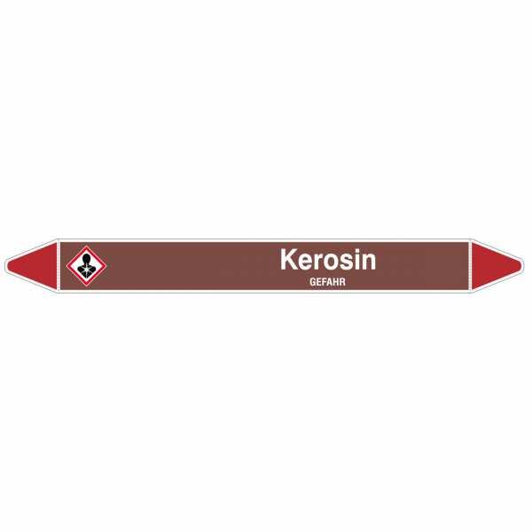 Brady Rohrmarkierer mit Text Kerosin - GEFAHR