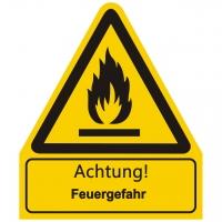 Kombischild Warnzeichen mit Text Achtung! Feuergefahr