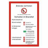 Sicherheitsaushang Brandschutzordnung Brände verhüten nach DIN 14096-1 (Teil A)