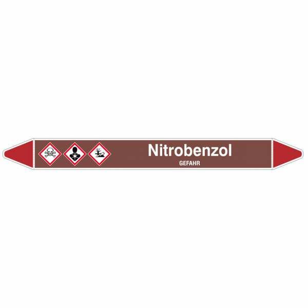 Brady Rohrmarkierer mit Text Nitrobenzol - GEFAHR