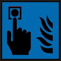 Brandschutzzeichen Hausmelder (blau) nach ISO 7010 (F005)