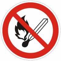 Verbotszeichen Feuer, offenes Licht und Rauchen verboten nach ISO 7010 (P003)