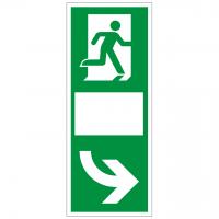 Türgriffhinterlegung langnachleuchtend, rechtsweisend mit Symbol nach ISO 7010