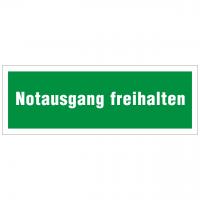 Rettungszeichen mit Text Notausgang freihalten