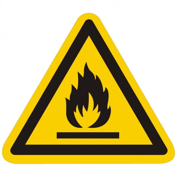 Warnzeichen Warnung vor feuergefährlichen Stoffen nach ISO 7010 (W021)