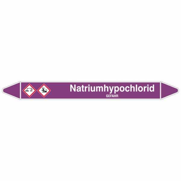 Brady Rohrmarkierer mit Text Natriumhypochlorid - GEFAHR