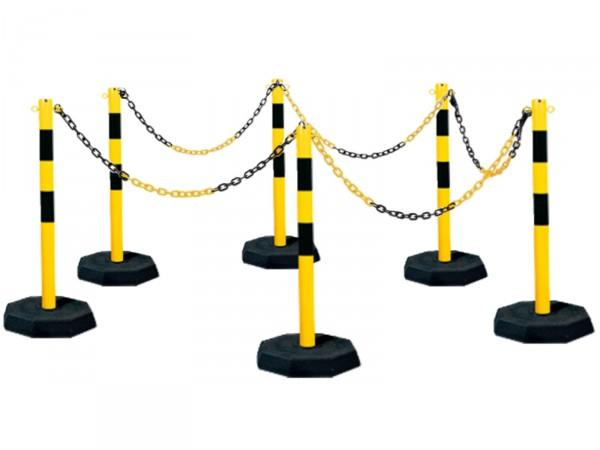 Kettenpfosten 6er-Set aus Stahl, gelb-schwarz