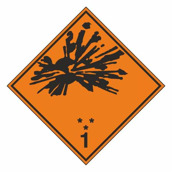 Gefahrzettel Explosive Stoffe und Gegenstände mit Explosivstoff Klasse 1