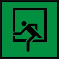 Rettungszeichen Notausstieg nach DIN 4844-2 / ASR A1.3 (D-E019)