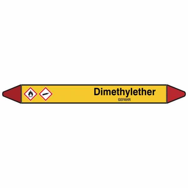 Brady Rohrmarkierer mit Text Dimethylether - GEFAHR
