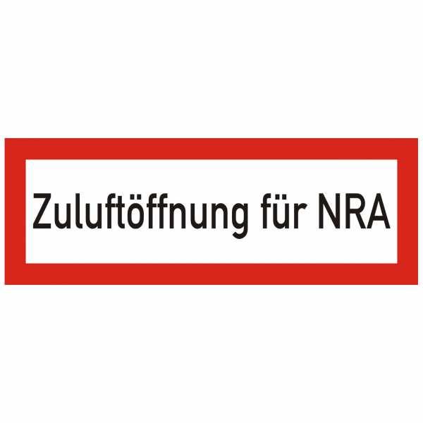 Brandschutzschild mit Text Zuluftöffnung für NRA