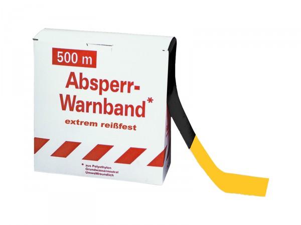 Absperrband -Reißfest- gelb-schwarz, 500 m