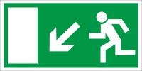Rettungszeichen Rettungsweg links abwärts nach BGV A8 (E13)