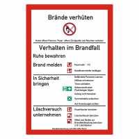 Brandschutzordnung nach DIN 14096-1 (Teil A) mit Symbolen nach ISO 7010