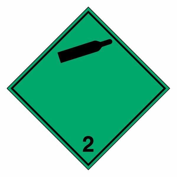 Gefahrzettel Nicht entzündbare, nicht giftige Gase (schwarze Gasflasche) Klasse 2.2
