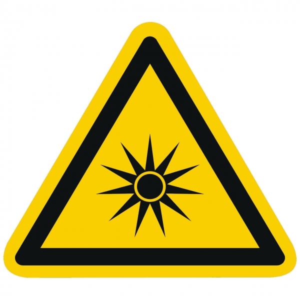 Warnzeichen Warnung vor optischer Strahlung nach ISO 7010 (W027)