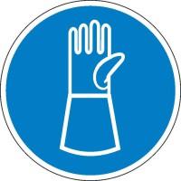 Gebotszeichen Handschuhe mit Pulsschutz benutzen