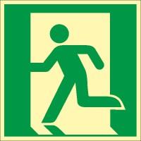 Rettungszeichen Notausgang links nach ISO 7010 (E001) / ASR A1.3