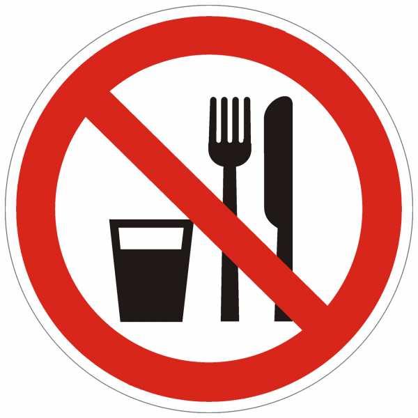 Verbotszeichen Essen und Trinken verboten nach BGV A8 (P19)