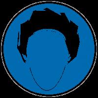 Gebotszeichen Kopfhaube tragen
