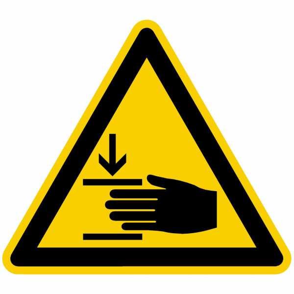 Warnung vor Handverletzung nach BGV A8 (W27)