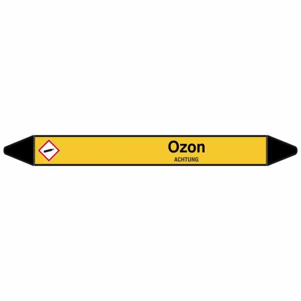 Brady Rohrmarkierer mit Text Ozon - ACHTUNG