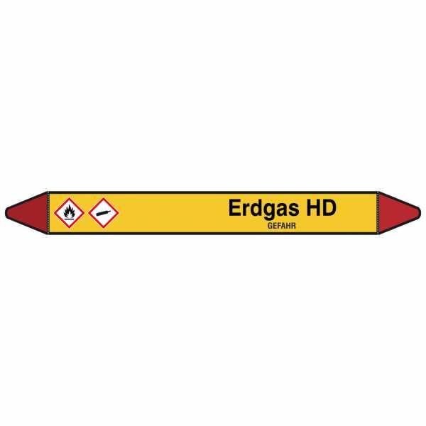 Brady Rohrmarkierer mit Text Erdgas HD - GEFAHR