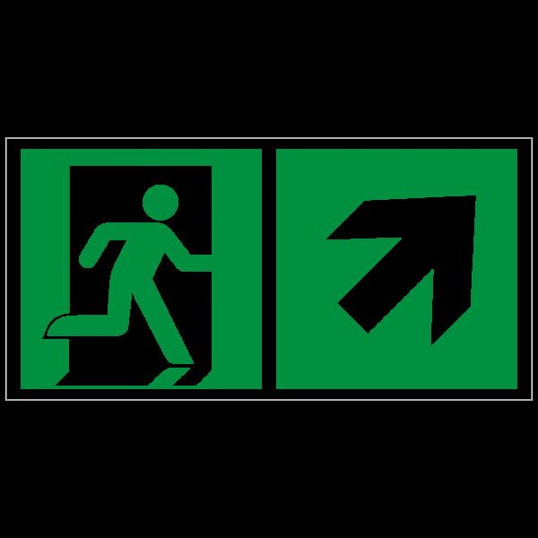 Rettungszeichen Rettungsweg - Notausgang rechts aufwärts nach ISO 7010 (E002) / ASR A1.3