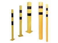TÜV geprüfter Rammschutzpoller in gelb - schwarz aus Stahl