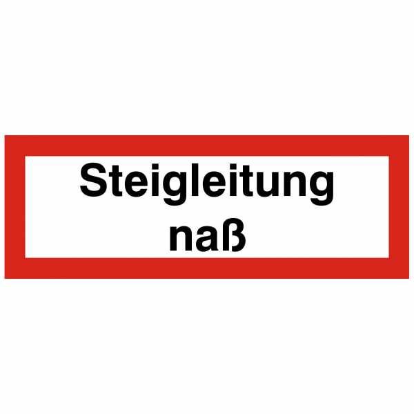 Brandschutzschild mit Text Steigleitung nass