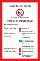 Brandschutzordnung Brände verhüten - Verhalten im Brandfall nach DIN 14096-1 (Teil A)