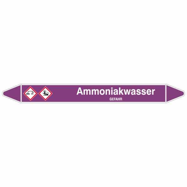 Brady Rohrmarkierer mit Text Ammoniakwasser - GEFAHR