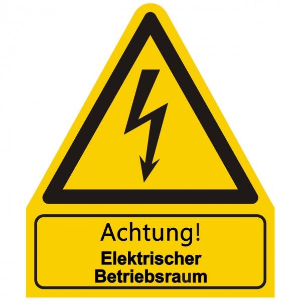 Kombischild Warnzeichen mit Text Achtung! Elektrischer Betriebsraum