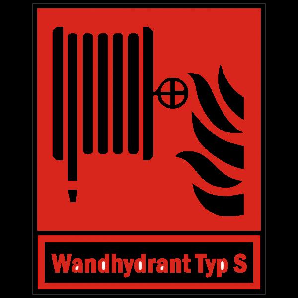 Brandschutzzeichen Löschschlauch mit Zusatz Wandhydrant Typ S nach ISO 7010 (F002)