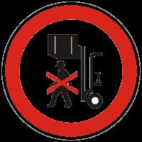 Verbotszeichen Nicht unter angehobene Lasten treten
