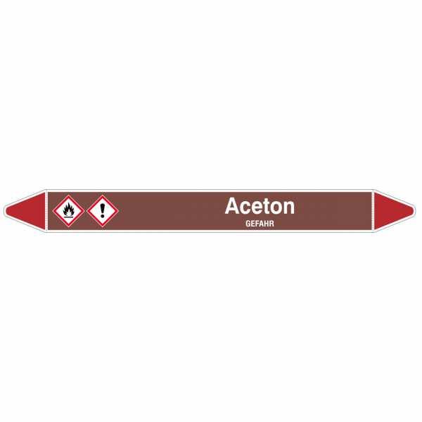Brady Rohrmarkierer mit Text Aceton - GEFAHR