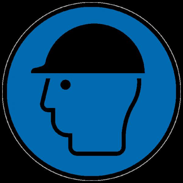 Gebotszeichen Kopfschutz benutzen nach ISO 7010 (M014)