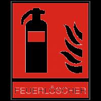 Brandschutzzeichen Feuerlöscher nach ISO 7010 mit Text