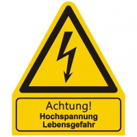Kombischild Warnzeichen mit Text Achtung! Hochspannung Lebensgefahr