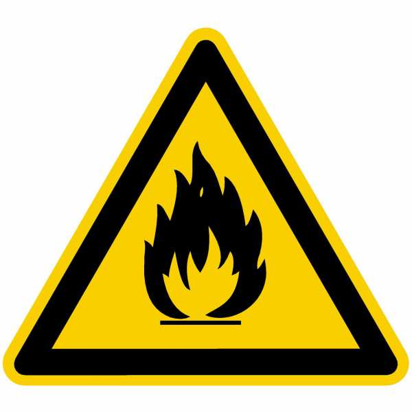 Warnzeichen Warnung vor feuergefährlichen Stoffen nach BGV A8 (W01)