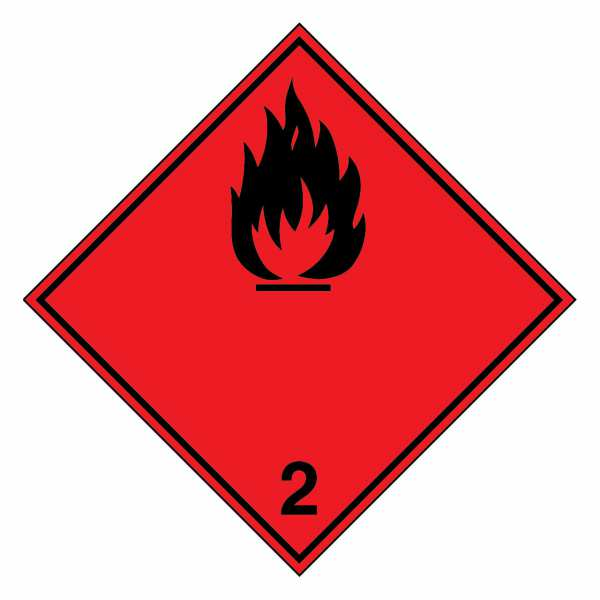 Gefahrzettel Entzündbare Gase (schwarze Flamme) Klasse 2.1