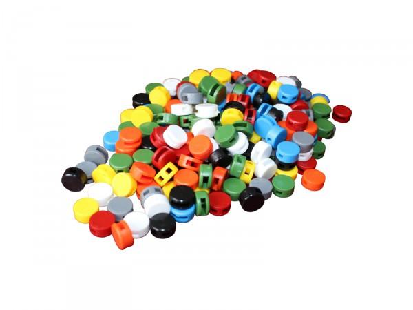 Kunststoff-Plomben (12mm), 100 Stück, Farbe nach Wahl
