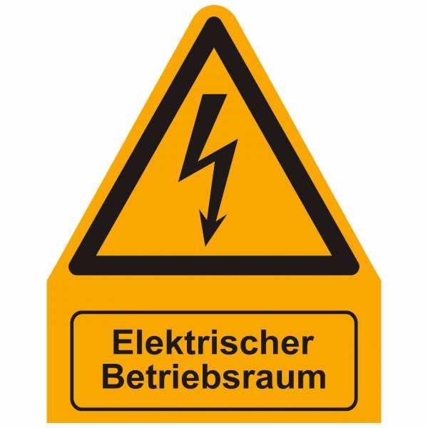 Kombischild Warnzeichen mit Text Elektrischer Betriebsraum, 200x255 mm Folie
