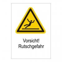 Kombischild Warnzeichen W011 mit Text Vorsicht! Rutschgefahr