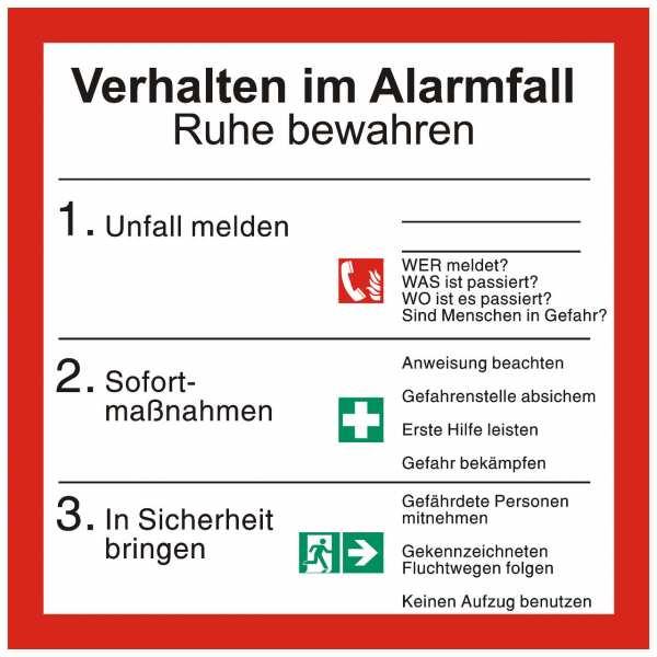 Sicherheitsaushang Verhalten im Alarmfall mit Symbolen nach ISO 7010