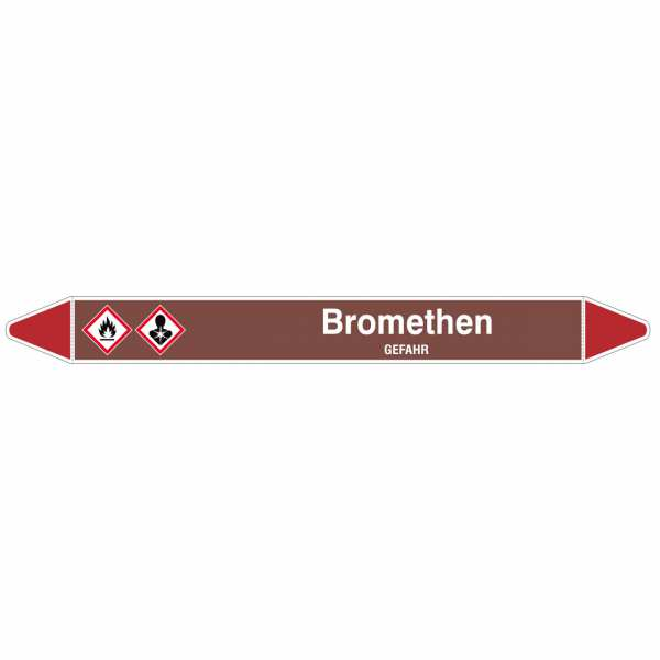 Brady Rohrmarkierer in braun mit Text Bromethen - GEFAHR
