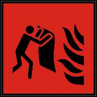 Brandschutzzeichen Feuerlöschdecke nach ISO 7010 (F016)